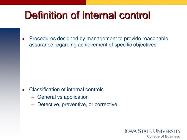Definition of internal control