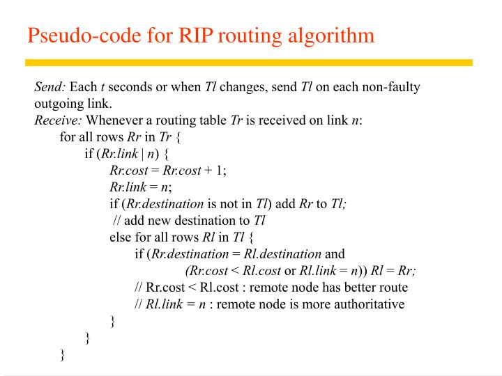 Pseudo-code for RIP routing algorithm
