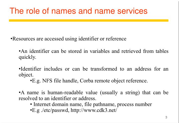 The role of names and name services