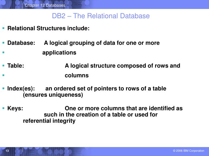 DB2 – The Relational Database