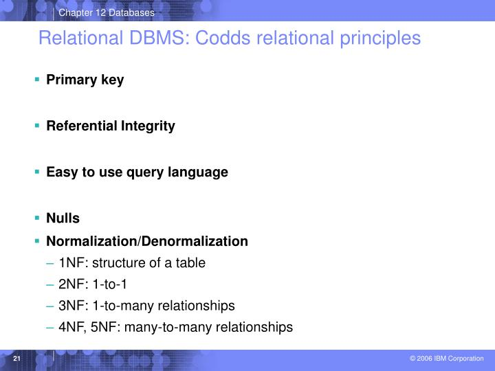 Relational DBMS: Codds relational principles