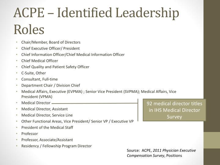 ACPE – Identified Leadership Roles