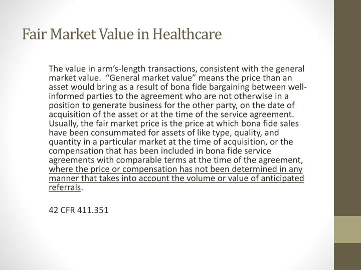 Fair Market Value in Healthcare