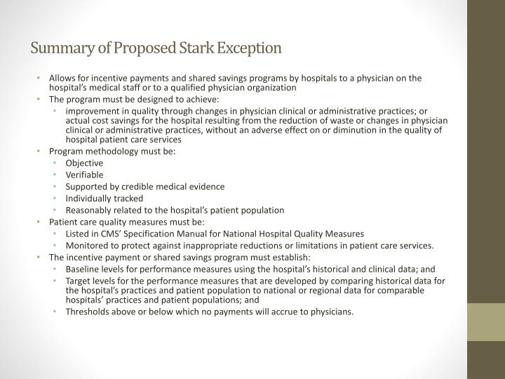 Summary of Proposed Stark Exception