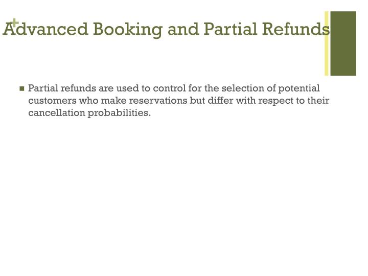 Advanced Booking and Partial Refunds