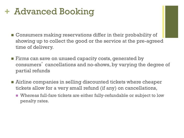 Advanced Booking