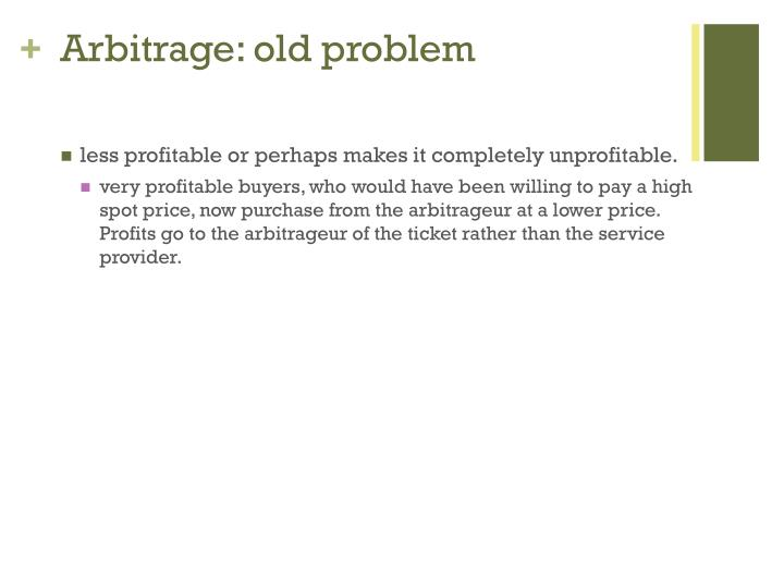Arbitrage: old problem