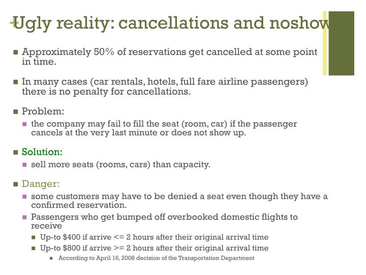 Ugly reality: cancellations and noshows