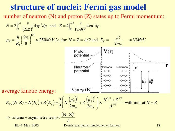 structure of nuclei: Fermi gas model