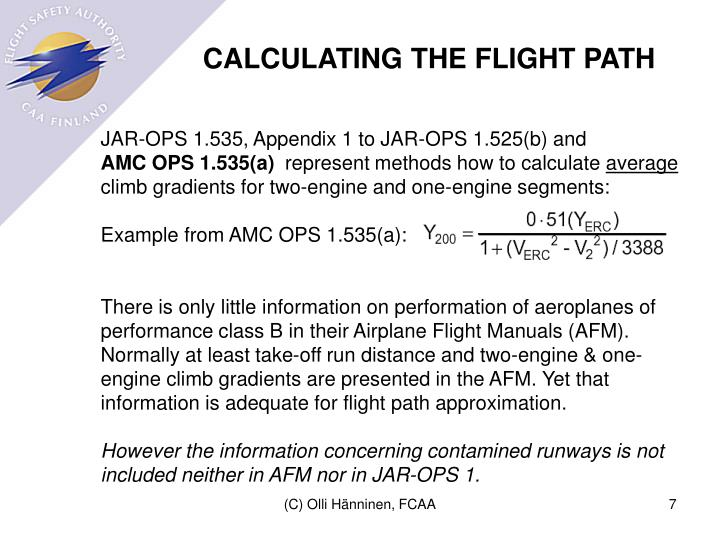 CALCULATING THE FLIGHT PATH