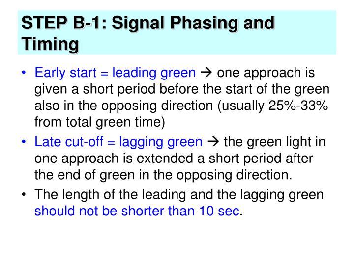 STEP B-1: Signal Phasing and Timing