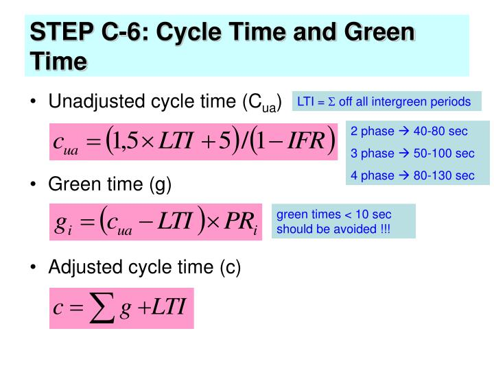 STEP C-6: Cycle Time and Green Time