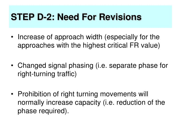 STEP D-2: Need For Revisions