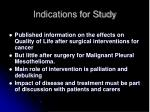 indications for study