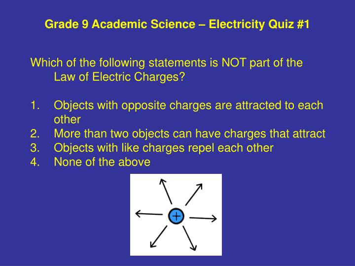 Grade 9 academic science electricity quiz 1