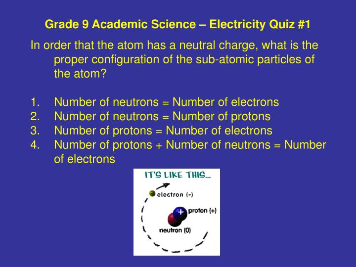 Grade 9 academic science electricity quiz 11