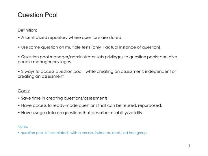 Question pool