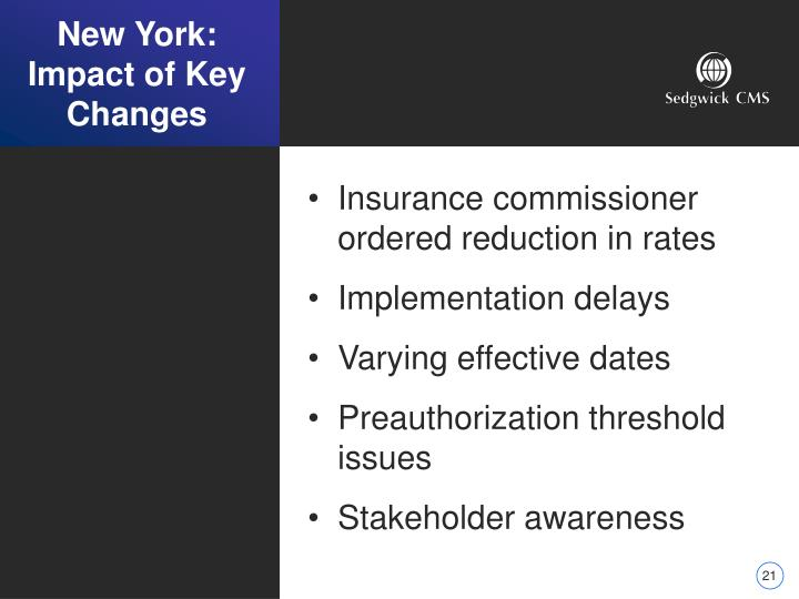 New York: Impact of Key Changes