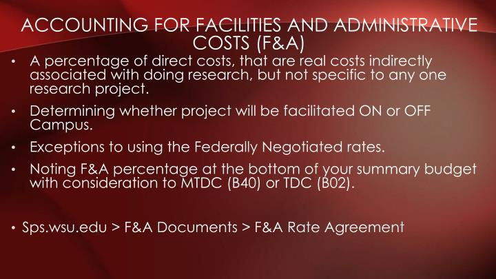Accounting for Facilities and Administrative Costs (F&A)