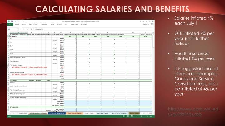 Calculating salaries and benefits