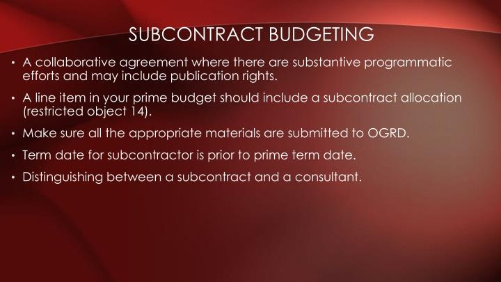 Subcontract Budgeting