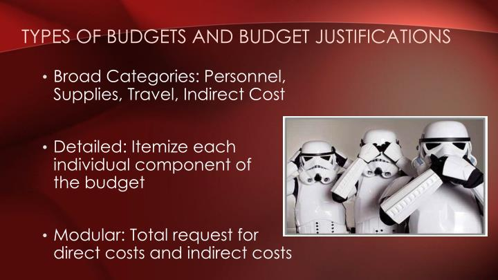 Types of Budgets and Budget Justifications
