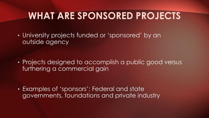 What are sponsored projects