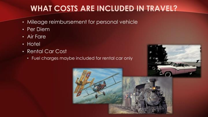 What costs are included in travel?
