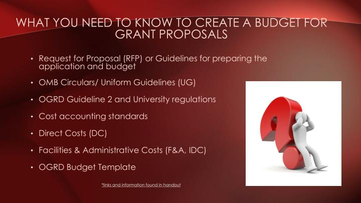 What you need to know to create a Budget for grant proposals