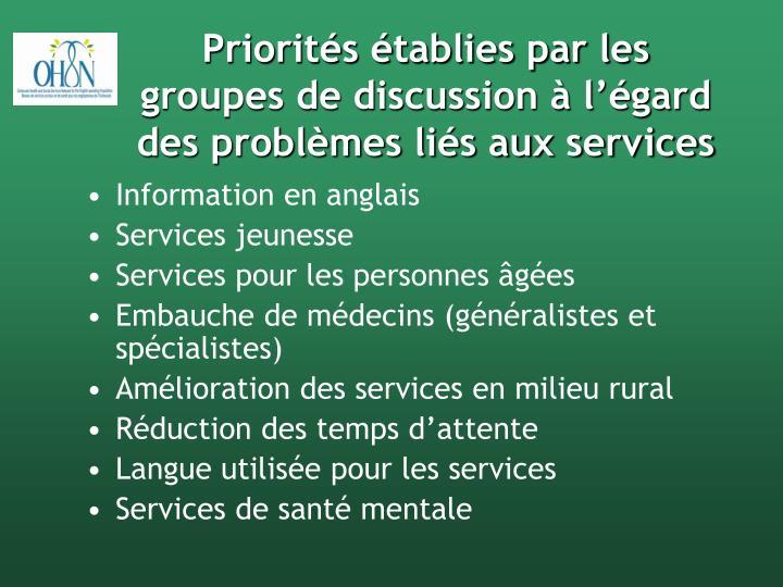 Priorités établies par les groupes de discussion à l'égard des problèmes liés aux services