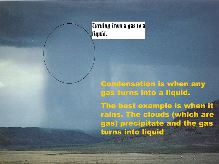 Condensation is when any gas turns into a liquid.