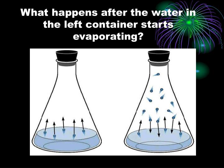 What happens after the water in the left container starts evaporating?