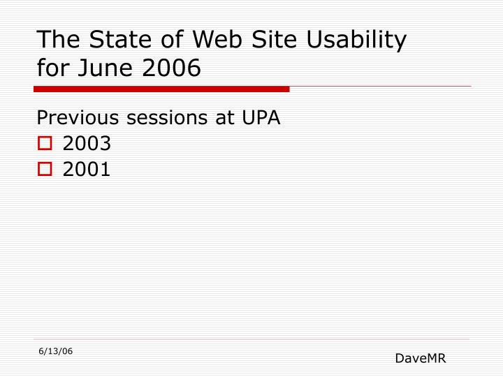 The State of Web Site Usability