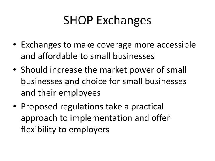 Shop exchanges