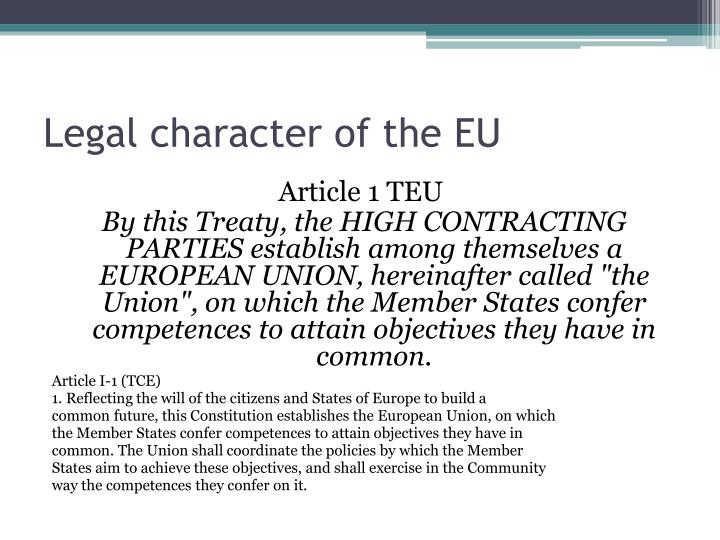 Legal character of the EU