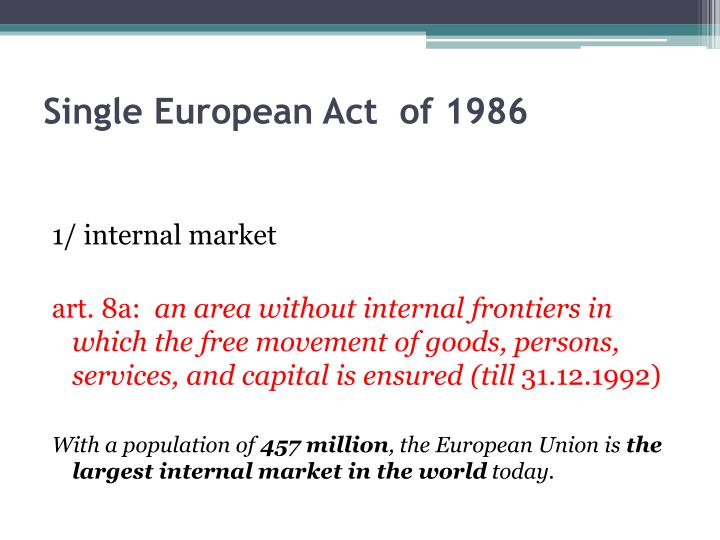 Single European Act  of 1986