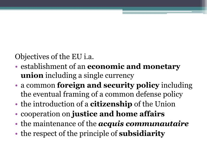 Objectives of the EU i.a.