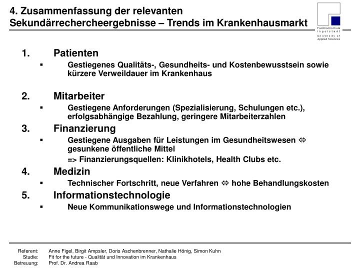 4. Zusammenfassung der relevanten Sekundärrechercheergebnisse – Trends im Krankenhausmarkt