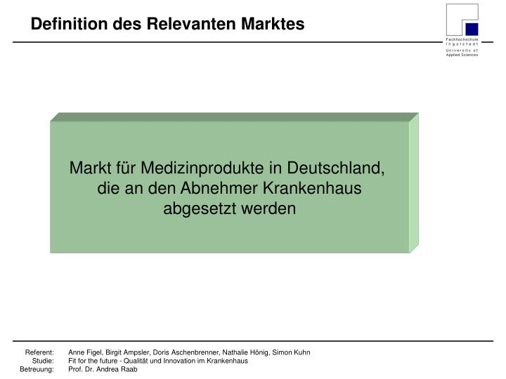 Definition des Relevanten Marktes