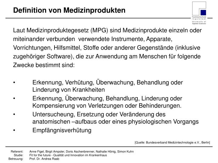 Definition von Medizinprodukten
