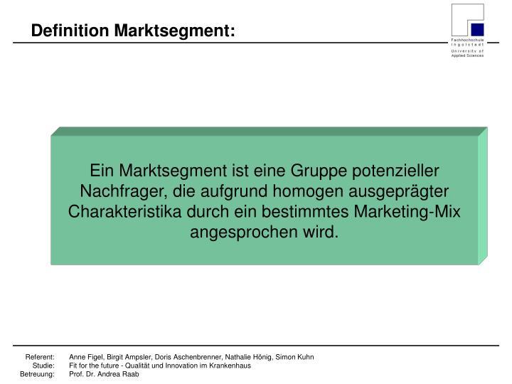 Definition Marktsegment: