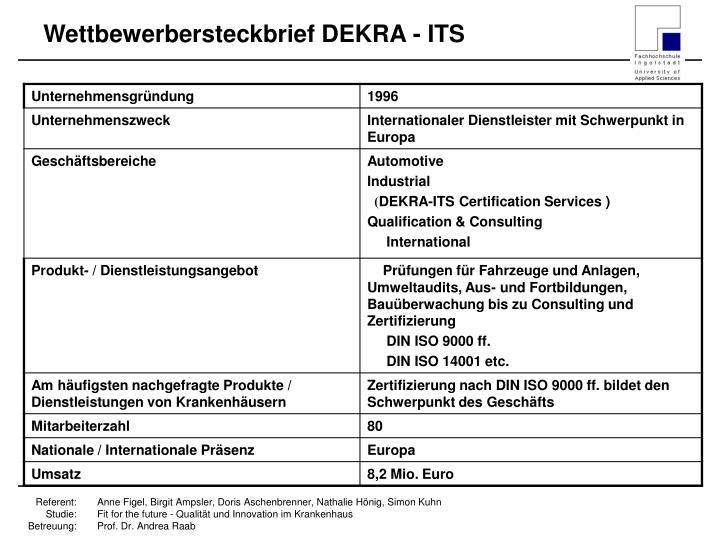 Wettbewerbersteckbrief DEKRA - ITS