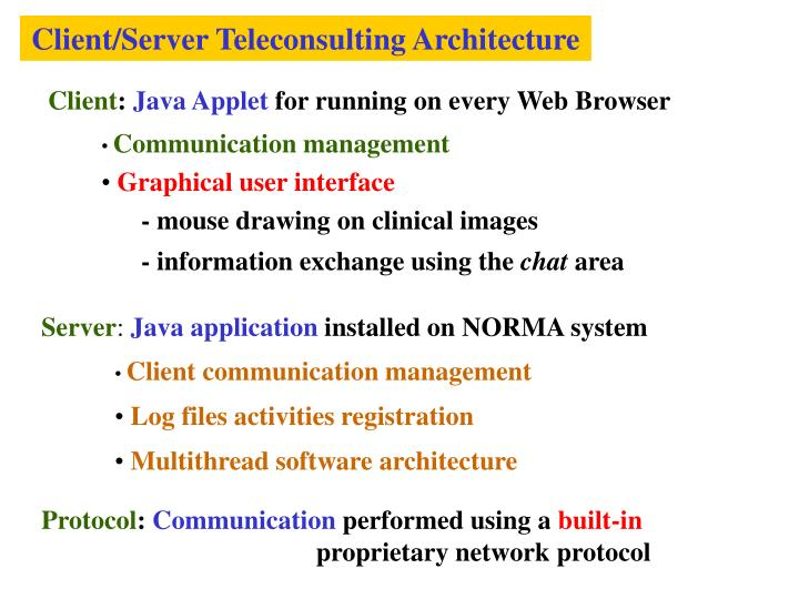 Client/Server Teleconsulting Architecture