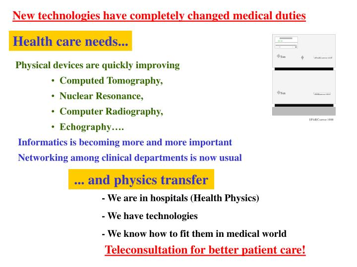 New technologies have completely changed medical duties