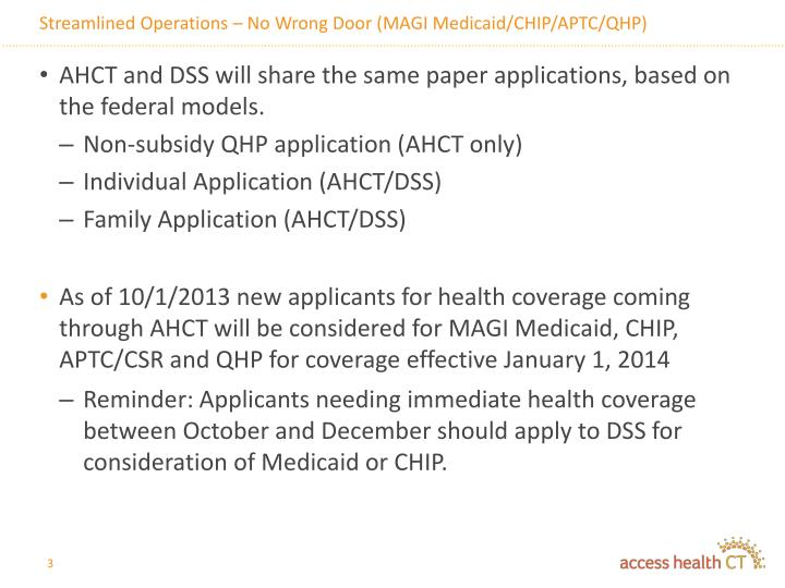 Streamlined operations no wrong door magi medicaid chip aptc qhp1