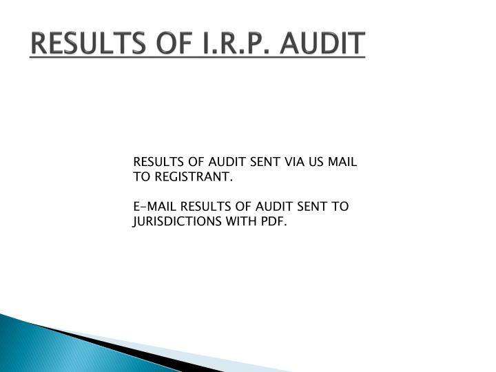 RESULTS OF I.R.P. AUDIT