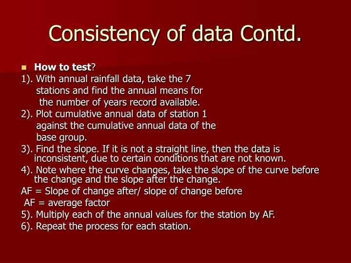 Consistency of data Contd.