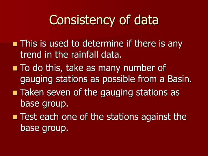 Consistency of data