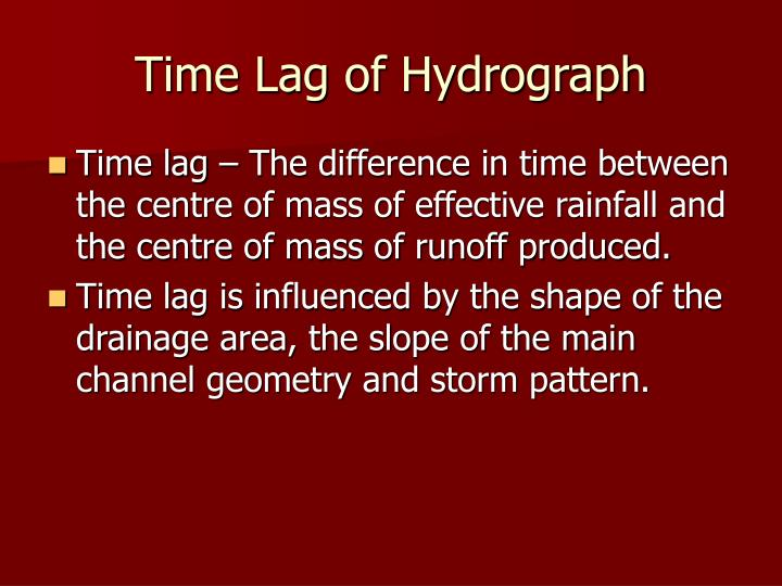 Time Lag of Hydrograph