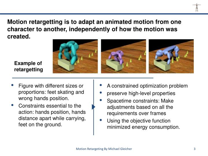 Motion retargetting is to adapt an animated motion from one character to another, independently of how the motion was created.